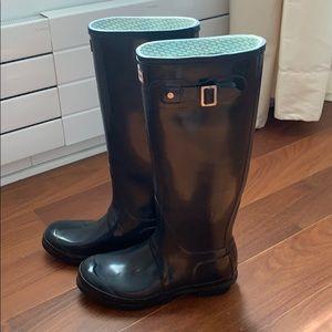 Hunter boots tall glossy black Sz 9